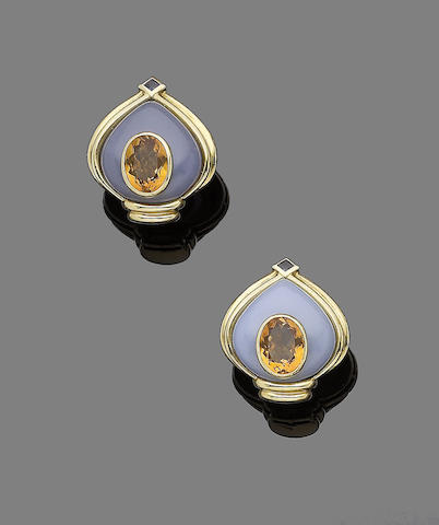 A pair of citrine, chalcedony and sapphire earclips,  by Vacheron Constantin
