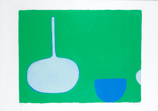 William Scott R.A. (British, 1913-1989) Pan and Bowl, Blues on Green Screenprint in colours, 1970, on wove, signed, dated and numbered 14/100 in pencil, printed at Kelpra Studio, London, published by Waddington Press, London, with margins, 590 x 775mm (23 1/4 x 30 1/2in)(I)