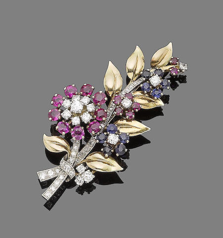 A ruby, sapphire and diamond flower brooch,