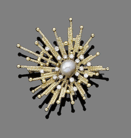 A cultured pearl and diamond brooch, by Peter Dollar,