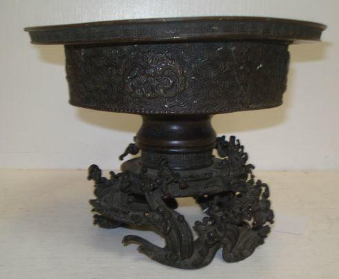 A Chinese bronze bowl and stand, Dong Ya Zhai mark, East Asian Studio, circular with wide rim, key pattern borders, the stand cast with naturalistic forms, 19.5cm.