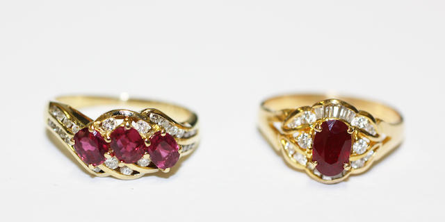 Two ruby and diamond set rings, (2)