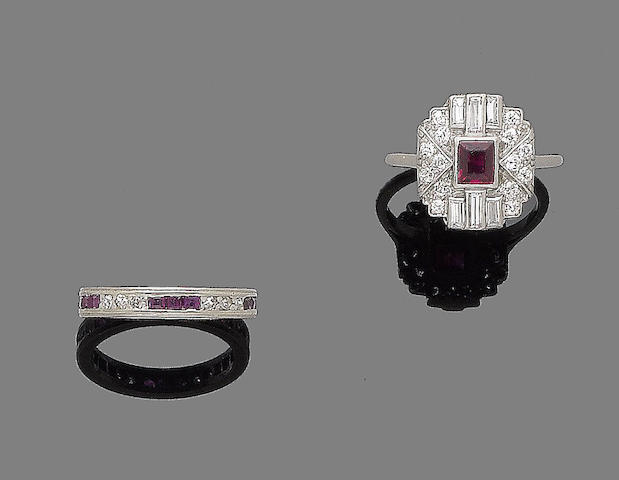 An art deco ruby and diamond dress ring, and a ruby and diamond eternity ring, (2)
