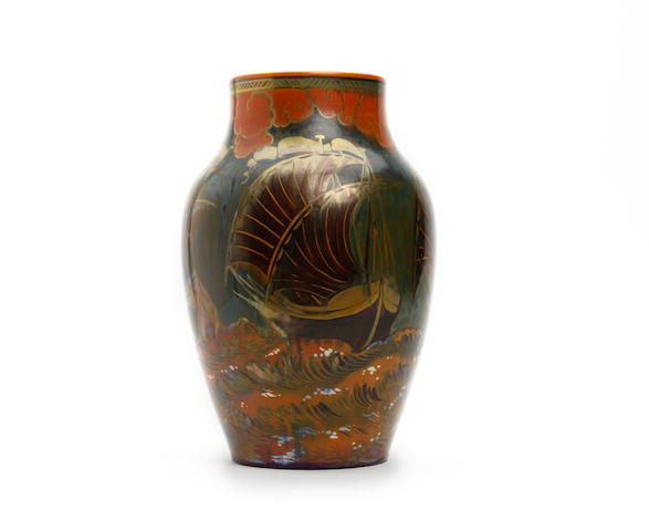 A Pilkington Royal Lancastrian vase, by William S Mycock Dated 1927