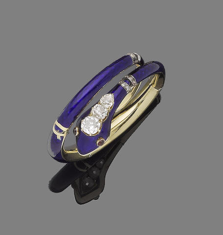 An enamel, ruby and diamond snake bracelet,