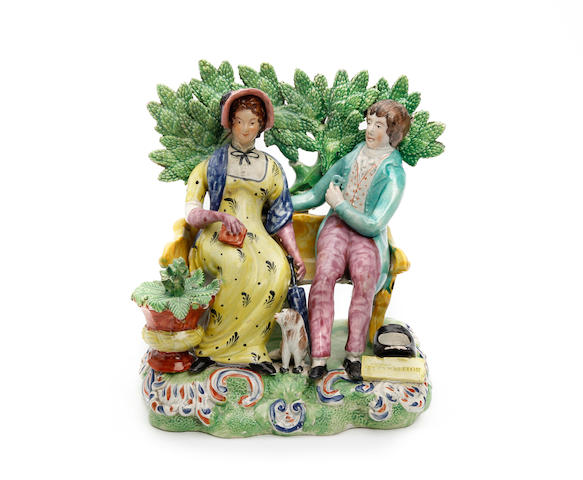 A Staffordshire figure group of 'Perswaition' Circa 1825