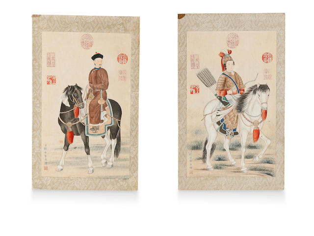 After Giuseppe Castiglione (1688 - 1766) Portraits of a Manchurian Emperor and a Royal Markswoman