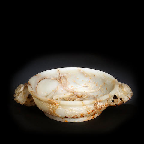 A Chinese carved two-handled bowl  Late Qing