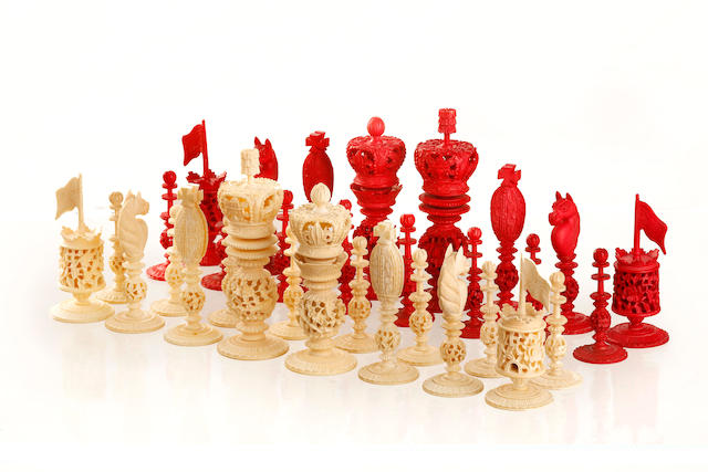 A 19th century ivory chess setCirca 1880