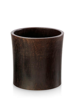 A large hardwood brush pot, bitong