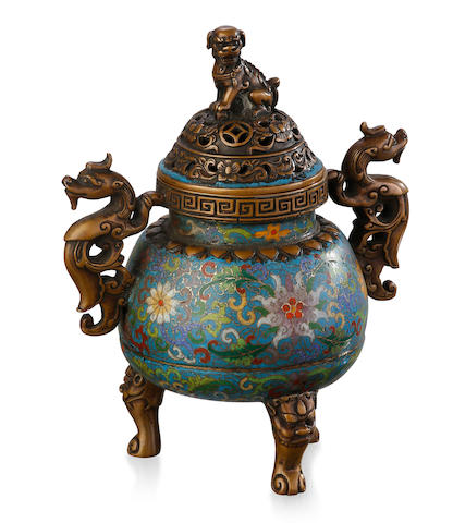 A cloisonné and bronze incense burner and cover Four-character Qianlong mark to the base, Mid-Late Qing Dynasty