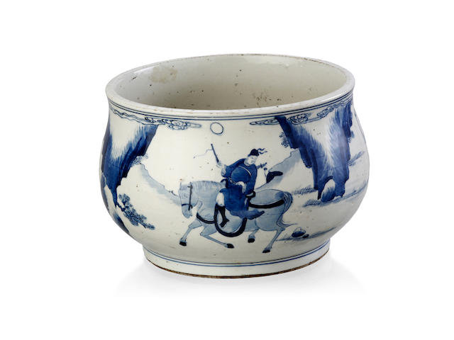 A Kangxi-style blue and white bombe-form censer Blue double-ring mark to the base, late Qing or Republic