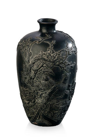 A iron-cast bottle-shaped vase  Four-character Qianlong mark to the base, Qing