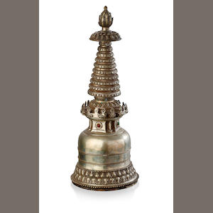 A large Tibetan bronze stupa Double-vajra mark to the base, 18th century