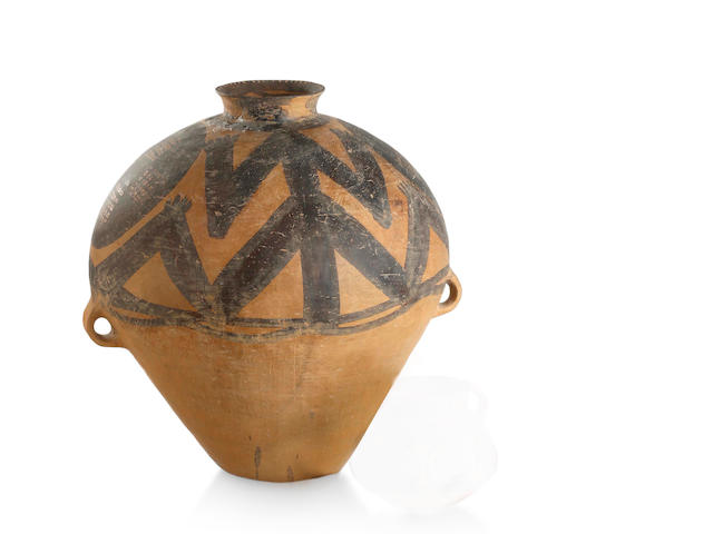 A Chinese neolithic painted pottery jar Majiayao Culture, Machang type, 3rd Millenium BC