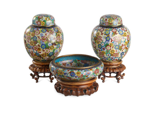 A pair of cloisonné ginger jars, together with a matching brush washer Late Qing or Republic