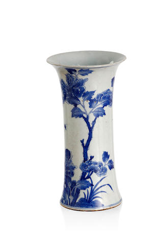 A Chinese blue-and-white transitional style vessel, gu Late Qing dynasty