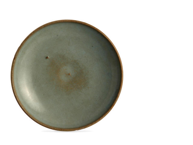 A Chinese celadon-glaze jun-type dish Jin or Yuan