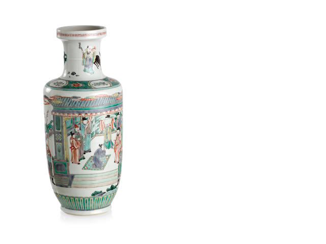 A Chinese famille-verte bottle-shaped vase Late Qing or Republic