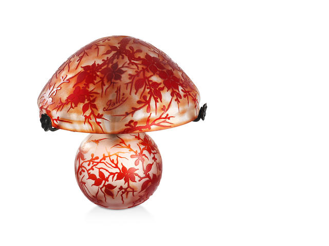 A Gallé two colour cameo glass table lamp
