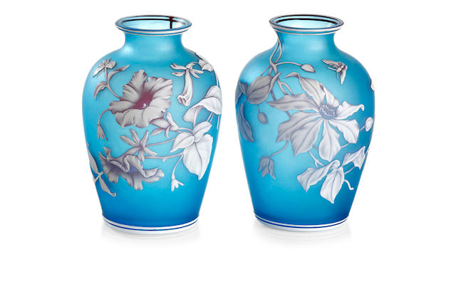 A pair of Art Nouveau three colour cameo  glass vases by Thomas Webb, circa 1890
