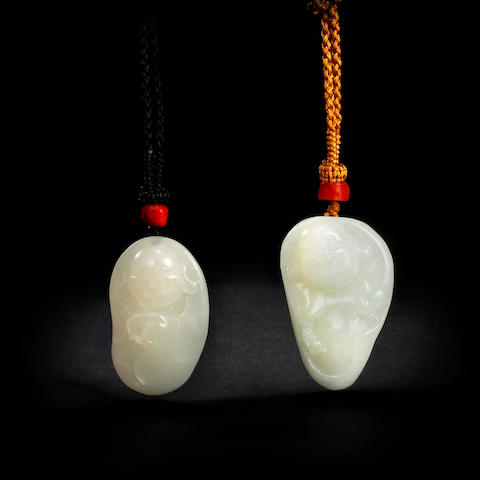 Two Chinese carved jade Maitreya