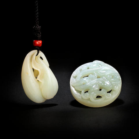 Two Chinese celadon jade carvings