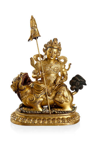 A gilded bronze figure of Vaishravana Mid to late Qing dynasty