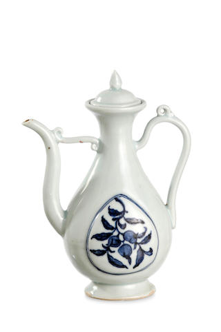 A Chinese early-Ming style white glaze 'fruit' wine pot