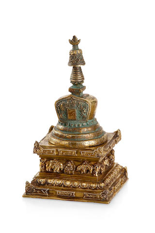 A Tibetan gilded bronze Stupa 18th - 19th century