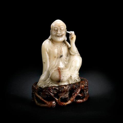 A Chinese baifurong soapstone Nagasena Qing dynasty