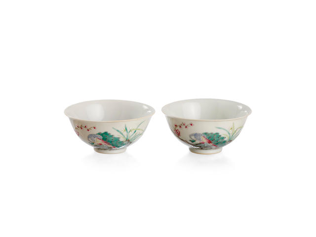 A pair of Chinese enamelled 'peacock' bowls Six-character iron-red Xuantong mark, Republic