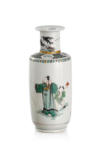 A Chinese famille verte bottle-shaped vase Pictorial mark of a ding to the base, Late Qing or Republic