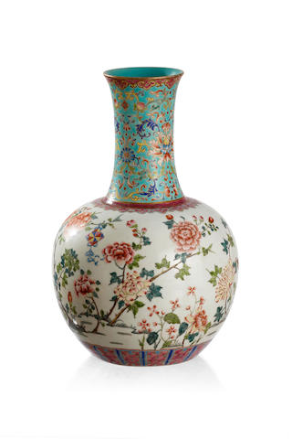 A Chinese famille-rose vase Six-character Daoguang mark to the base, but later
