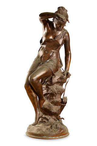 A French Art Nouveau bronze figure of a maiden signed Mme Signoret Ledieu