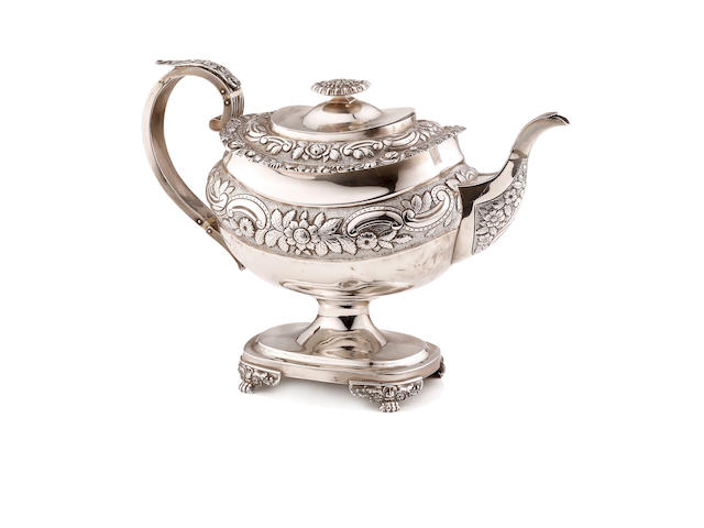 A George IV  silver pedestal teapot George Hunter London 1820