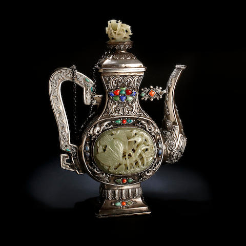 A Sino Nepalese silver pedestal teapot and cover