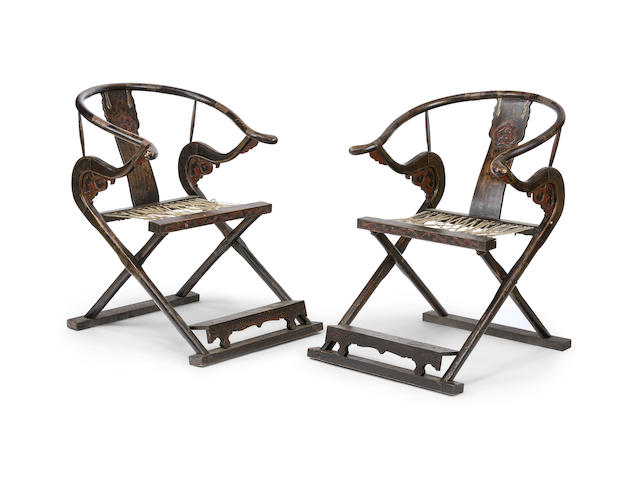 A pair of horseshoe back folding armchairs, jiaoyi 19th century