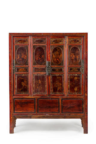 A Chinese four door cabinet  19th century