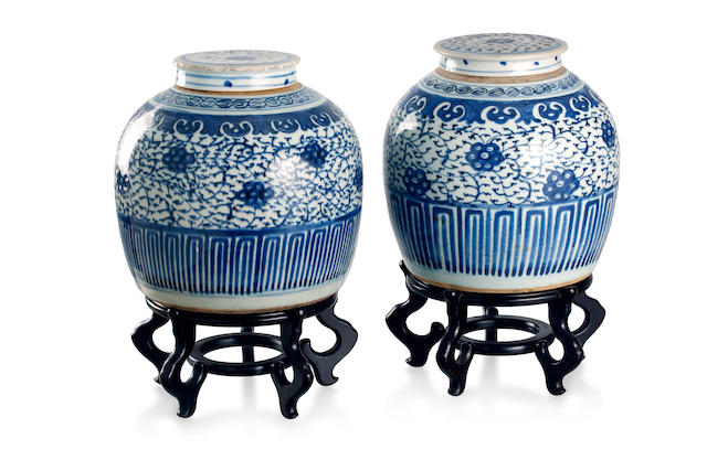 A matched pair of blue and white porcelain jars and covers Mid-Qing