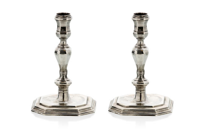 A fine pair of George II  silver candlesticks  with later cast marks for Paul de Lamarie  (2)