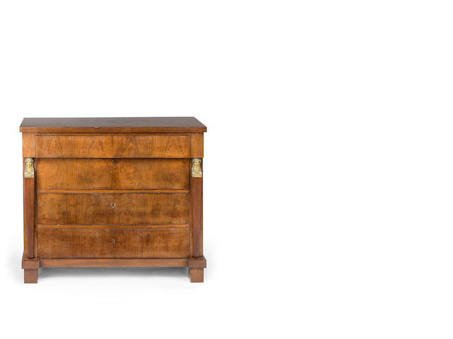 A Empire style walnut commode  French late 19th century