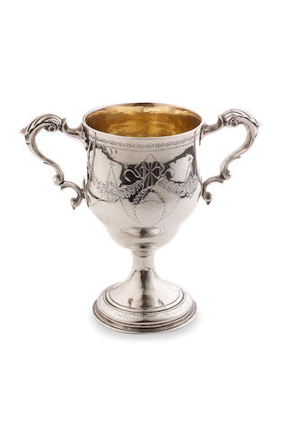 A George III Irish  silver  twin handled pedestal cup  MB Dublin 1790