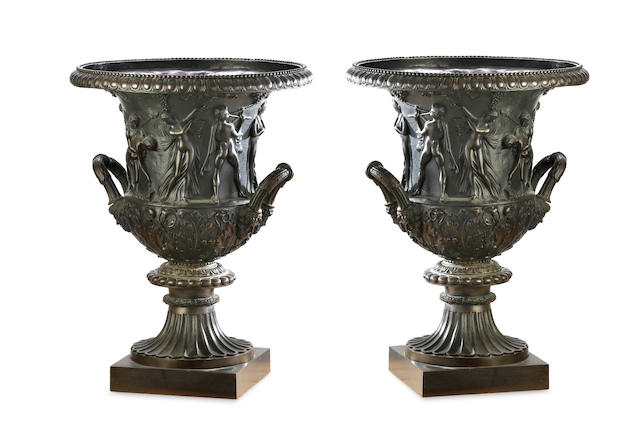 A near pair of 19th century bronze  models of the Borghese vasesAfter the Antique, one by Louis-Stanislas Lenoir-Ravrio (1783-1846)