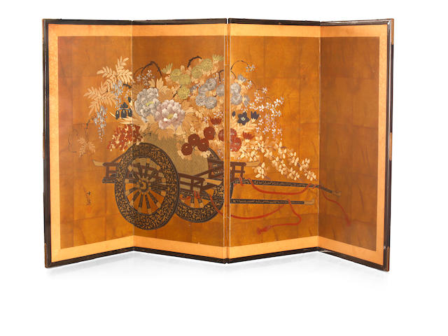 A Japanese export four-fold screen of a flower wagon Meiji or Taisho