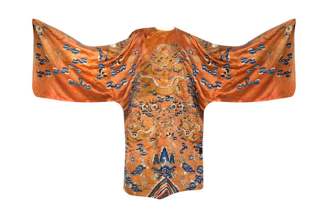 A Chinese peach hue 'dragon' theatre robe 19th century