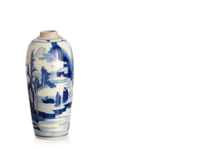 A Chinese blue-and-white turnip-shaped vase Kangxi