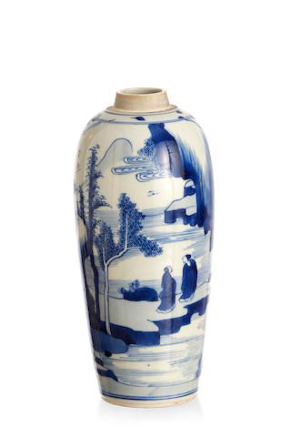 A Chinese blue-and-white turnip-shaped vase Kangxi