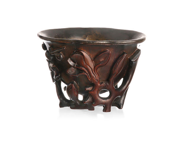 A Chinese zitan libation cup Qing dynasty