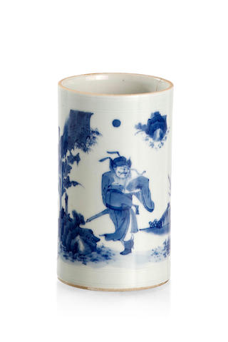A transitional blue-and-white brush pot Late Ming or early Qing dynasty, mid 17th century